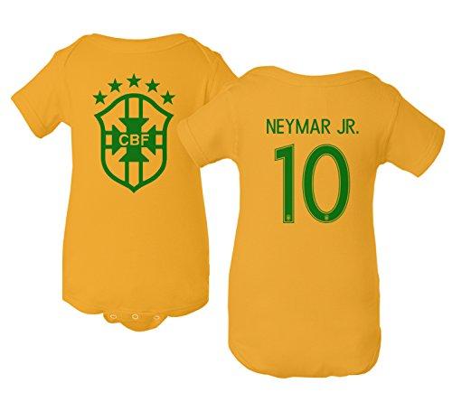 Tcamp Brazil 2018 National Soccer #10 Neymar JR. World Championship Little Infant Baby Short Sleeve Bodysuit