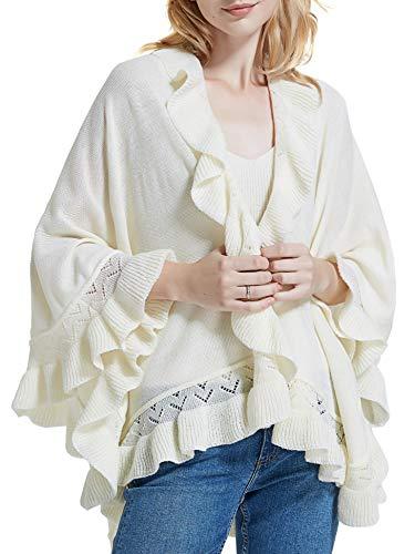 Spicy Sandia Ruffle Poncho for Women Knit Ruffled Trim Open-Front Beige Wrap Shawl Cape