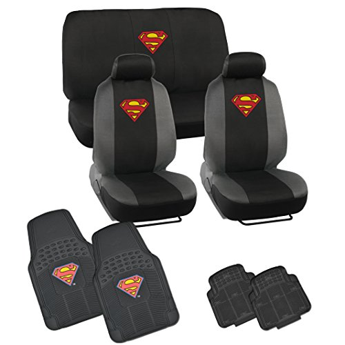 Warner Brothers Superman Seat Cover, Rubber Floor Mat for Car - Universal Fit Auto Accessories Full Set (Superman Seat Covers For Cars compare prices)