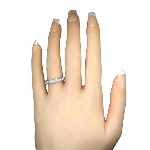 14k White Gold Princess-cut 11-Stone Diamond Bridal Wedding Band Ring (1 cttw, J-K, SI1-SI2), Size 8.5 by La4ve Diamonds (Image #4)