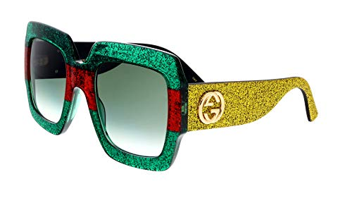 Gucci GG 0102 S- 006 MULTICOLOR/GREEN GOLD Sunglasses (Gucci Aviator-brillen)