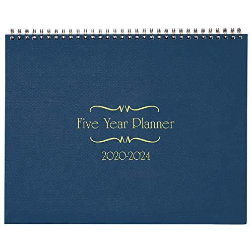 (5-Year Calendar Planner, 2020-2024 Monthly Schedule Organizer Flip Calendar Diary with Tabs, Spiral Bound Top, Blue, 8 ½