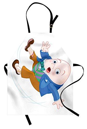 Lunarable Alice in Wonderland Apron, Humpty Dumpty Egg Falling Down Transformation Cartoon Nursery, Unisex Kitchen Bib Apron with Adjustable Neck for Cooking Baking Gardening, Blue Brown ()