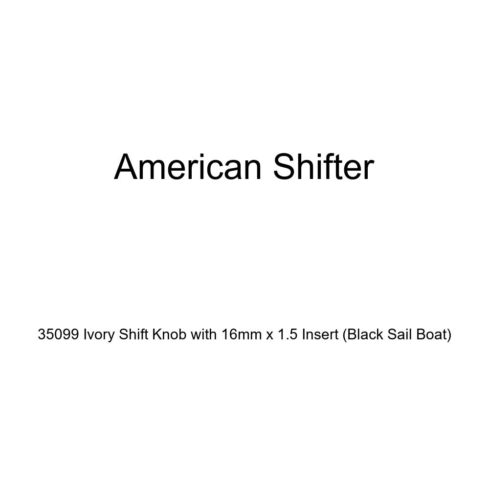 American Shifter 35099 Ivory Shift Knob with 16mm x 1.5 Insert Black Sail Boat