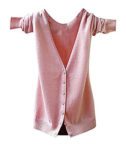 Maze, Women's Long Sleeve Buttoned Ribbed Cuff V Neckine Short Sweater Cardigan, PinkV XXL ,Manufacturer(XXXL)