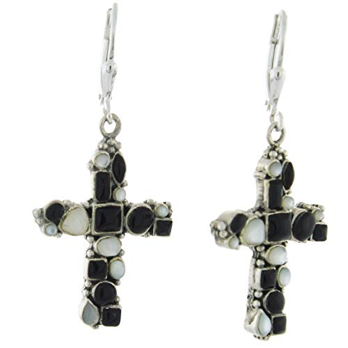 - Sterling Silver Gemstone Cross Earrings, MOP and Black Onyx