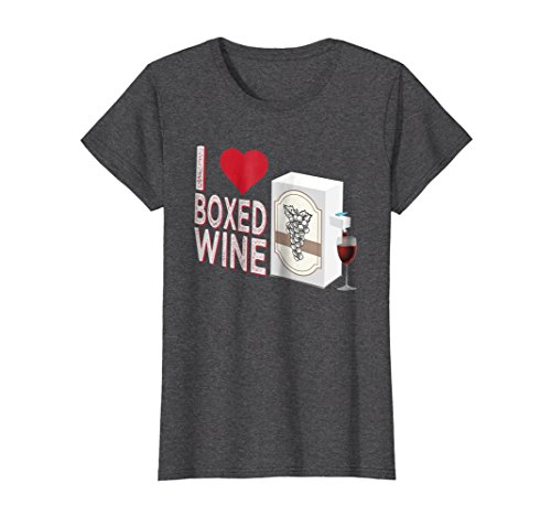 Womens I Love Boxed Wine Funny T-shirt Medium Dark (Boxed Wine T-shirt)