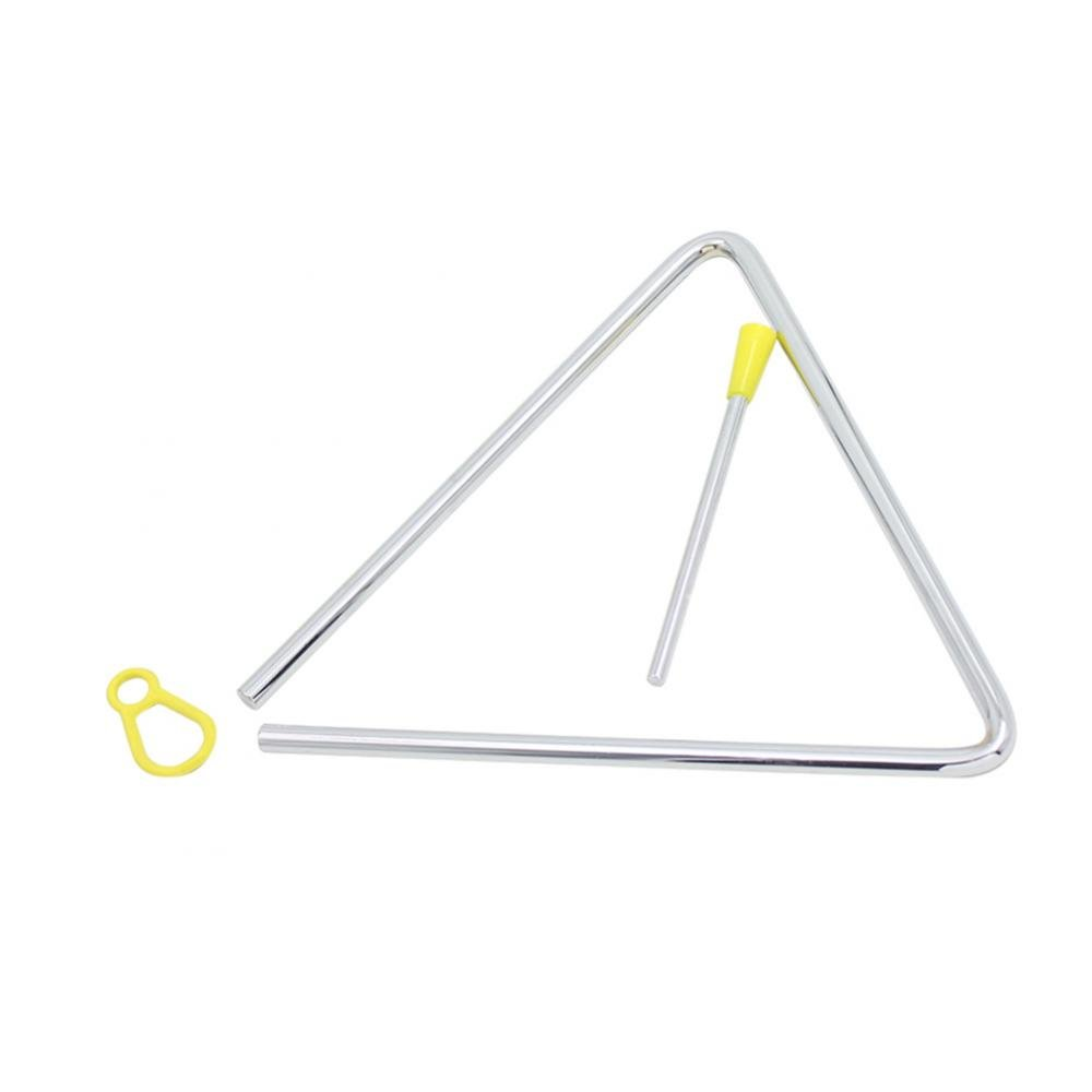 Alomejor Music Percussion Triangle, Musical Steel Triangle Instrument Set with Striker Early Preschool Education(7inches)
