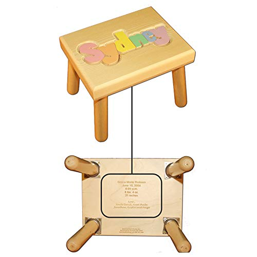Name Puzzle Stool in Pastel Colors WITH Engraved Message