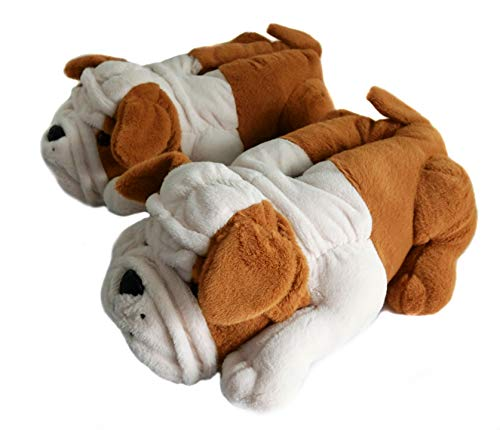- Fuzzy Winter Indoor Animal Slippers for Adult and Kid, Bull Dogs (Little Kid Size 13-2, Brown Bulldog)