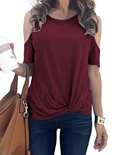 Knot Neckline Top - MODARANI Open Cold Shoulder Tops for Women Red Short Sleeve Casual Loose Top Knot Twist Tunic Top L
