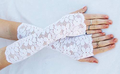 (Brides White Lace Fingerless Gloves Extra Long Opera Wedding Bridal)