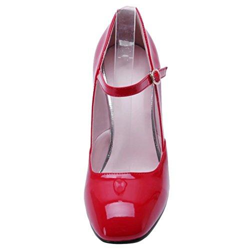 AIYOUMEI Damen High Heel Lack Pumps mit Schnalle und 9cm Absatz Blockabsatz Riemchen Pumps Hochzeit Schuhe Rot
