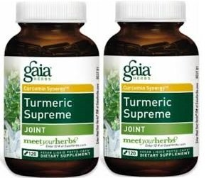 Gaia Herbs Turmeric Supreme Joint Liquid Phyto Capsules, 120 Count (120 Pack of 2)