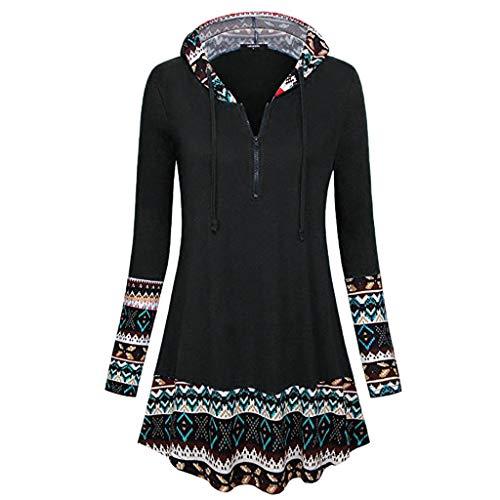 TOPUNDER Zipper Patchwork Pullover Drawstring Long Sleeve Tunic Hooded Sweatshirt Women