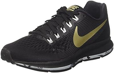 Nike Women's Air Zoom Pegasus 34 Running Shoe Black/MTLC Gold Star-Anthracite-White 9.0