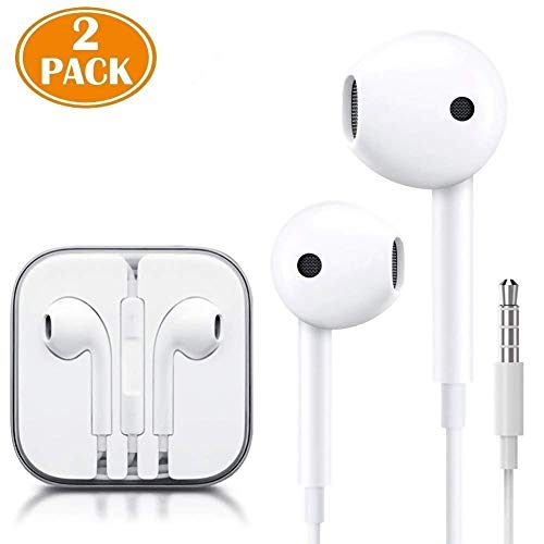 JNDDF (2 Pack) Aux Headphones/Earphones/Earbuds 3.5mm Wired Headphones Noise Isolating Earphones with Built-in Microphone & Volume Control Compatible with Phone 6 SE 5S 4 Pod Pad/Android MP3