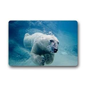 Romano de la Felpudo personalizar Decor Alfombras Felpudos? Oso Polar natación se puede lavar a máquina. S Interior Al aire libre cámara Doormats área Rugs entrada mats antideslizante de goma Felpudo 23.6en por 15,7en