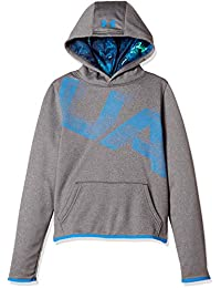 Under Armour - Sudadera con Capucha para niño, Charcoal Light Heather/Blue Circuit, X-Large