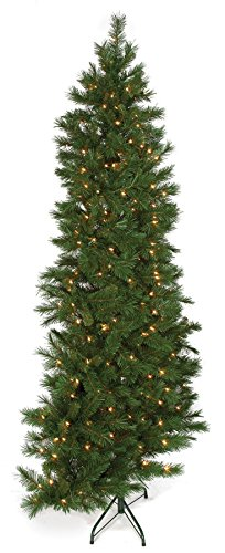 7'6''Hx56''W Half-Tree/Wall Noble Lighted Artificial Christmas Tree w/Stand -Green