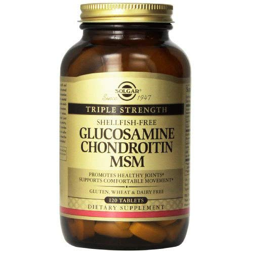 - Solgar – Triple Strength Glucosamine Chondroitin MSM (Shellfish-Free) 120 Tablets