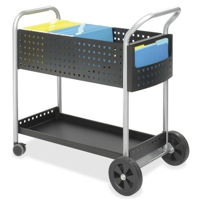 Safeco Scoot Mail Cart, 1-Shelf, 300lbs, 22-1/2 x 39-1/2 x 40-3/4, Black/Silver, EA - SAF5239BL