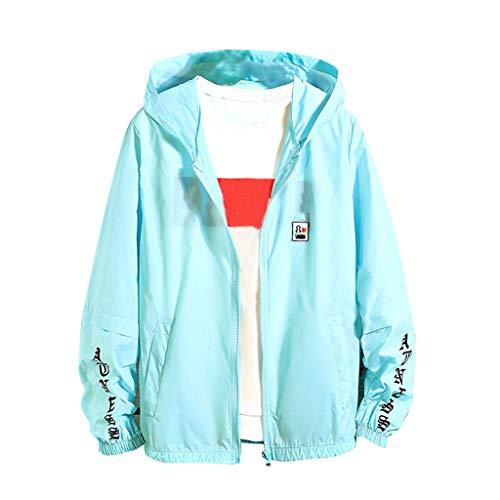 (WUAI Plus Size Men's Summer Breathable Sports Sunscreen Clothing Ultra Thin UV Protection Transparent Jacket(Blue,Medium))
