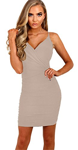 Sexy Sleeveless Spaghetti Strap Deep V Neck Cross Wrap Front Shirred Ruched Twisted Mini Bodycon Dress Apricot XL ()