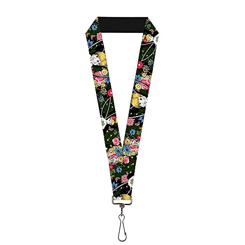 Buckle Down Unisex-Adult's Lanyard-1.0-Tinker Bell Poses/Sleeping Floral Collage, Multi, One-Size