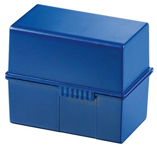 HAN 977-14, Karteibox DIN A7 quer, Innovatives, attraktives Design für max. 300 Karten mit Stahlscharnier, blau- weitere Farben auswählbar