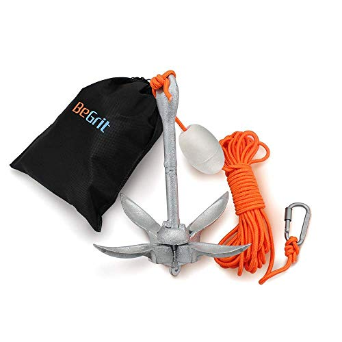 BeGrit Kayak Anchor Small Boat Anchor Kit Folding Grapnel Anchor Carbon Steel for Canoe Jet Ski SUP anchor 3.3 lb with 32.8 ft ø 6 mm Anchor Line Carrying Bag