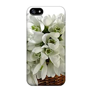Iphone 5/5s Case Cover - Slim Fit Tpu Protector Shock Absorbent Case (basket Of White Flowers)