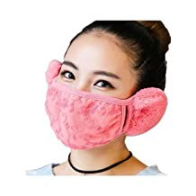 Fashion Women Girls Winter Warm Cloth Face Mouth Mask Adult Thicken Anti Dust Anti-fog Windproof Earmuff Mouth-muffle Safety Particle Respirator Filters Bacteria Protection (Pink)