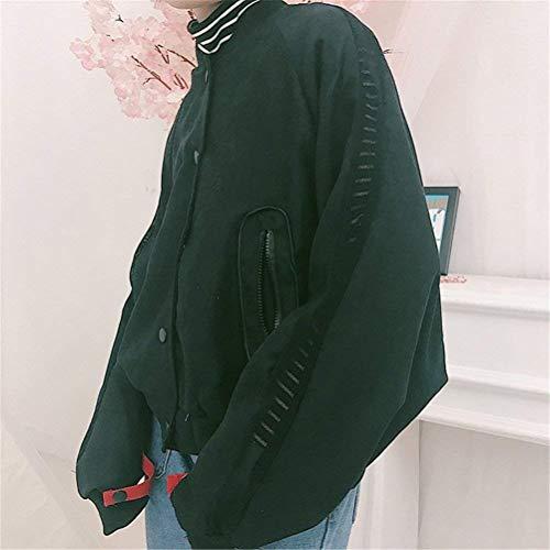 Giacca Cappotto Bomber Eleganti Casual Lunghe Con Relaxed College Schwarz Pilot Fashion Donna Ragazza Outerwear Lacci Chic Maniche Giacche Stampate Autunno ZZqr0
