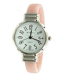 Women's Pink Silver Tone Bangle Cuff Watch