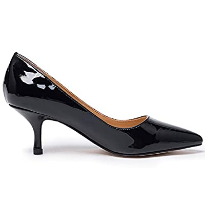Darco&Gianni Womens Kitten Mid Heel Pump Ladies Pointed Toe Basic Office Work Shoe Classic Black Leather Slip On