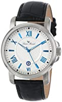 Lucien Piccard Men's LP-12358-023S Cilindro Silver Textured Dial Black Leather Watch from Lucien Piccard