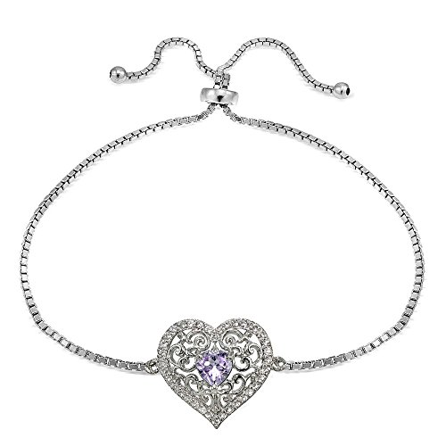 Sterling Silver Genuine Amethyst and White Topaz Filigree Heart Adjustable Bracelet