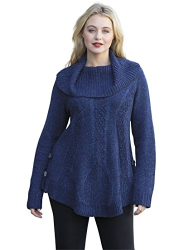 Womens-Plus-Size-Cowl-Neck-Cable-Pullover