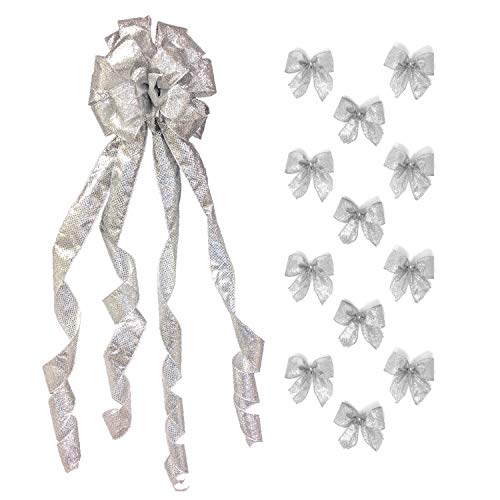New Traditions Simplify Your Holiday Large Christmas Tree Topper Bow and 12 Mini Bows - Sheer Silver Wired Ribbon with Glitter Flecks