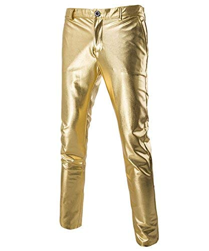 Boyland Mens Casual Night Club Metallic Moto Jeans Style Flat Front Suit Pants/Straight Leg Trousers