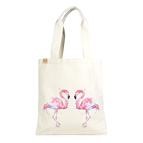 (12 in by 14in Cotton Eco Graphic Tote Bag - Personalization Available (Flamingo Love))