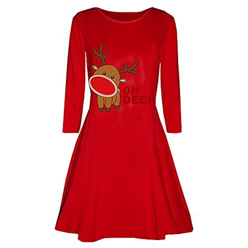 Womens Christmas Skirt Duseedik Xmas Print Elegant Long Sleeve Bottom Evening Party Swing Dress Flare Mini Dress -