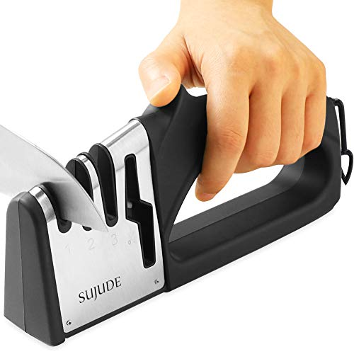 - SUJUDE Knife and Scissor Sharpeners, Scissor Sharpening Tool, 4 Stages Knife Sharpener with Diamond, Ceramic, Tungsten, with a User-Friendly Handle, Non-Slip Base and Hanging Ring