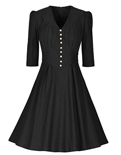 Las Mujeres 50s Vestidos Vintage Retro Rockabilly Vestidos Largos Elegantes con 3/4 Marga vestido de fiesta de noche Negro