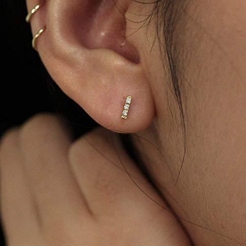 Diamond Earrings, Diamond Earrings, Minimalist Earrings, Diamond Studs, Diamond Bar Studs, Diamond Bar Earrings, 14k Gold Dainty Earrings