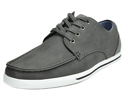 Bruno MARC RIVERA-02 New Men's Classic Lace Up Casual Oxfords Sneakers Shoes GREY SIZE 10