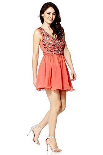 Mujer Vestido De Graduación Gema Con Lentejuelas Pedrería Vestido De Fiesta - Coral, 16