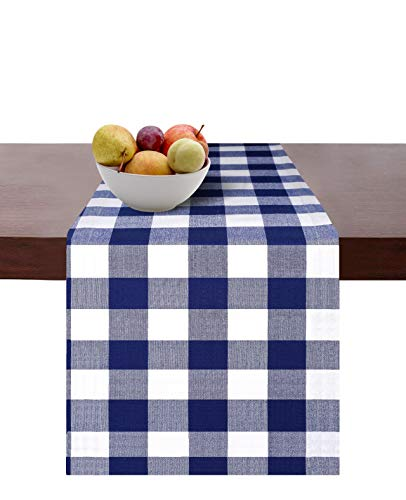 Cotton Clinic Set of 2 Gingham Buffalo Check Table Runners Farmhouse 108 Inches, 14x108 Cotton Wedding Table Runners, Rustic Bridal Shower Decor Dining Table Runners Navy White]()