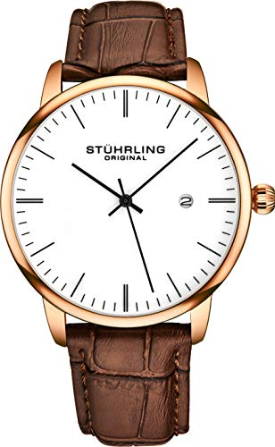 Stuhrling Original Mens Watch Calfskin Leather Strap - Dress + Casual Design - Analog Watch Dial with Date, 3997Z Watches for Men Collection (Rose Gold White)